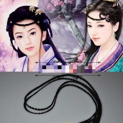 2PCS fine black braid for kids girls stage performance princess hanfu dress empress tang drama cosplay photos shooting hair accessory