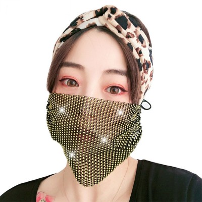 3pcs Adult reusable face masks glitter bling mesh sexy fashion women night club photos mouth masks for party performance
