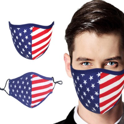 3pcs Reusable face masks for women and men american flag pattern washable cotton dust proof mouth masks for unisex