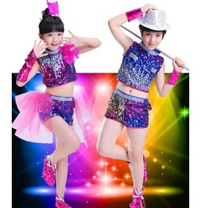 4Y-16Y Children's pink blue jazz Dance Costumes Child Modern Stage Shows Sequins Girls Boy Hip Hop Dancing Costumes