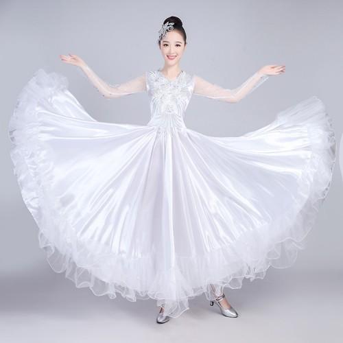 Women S Flamenco Dresses White Color Spanish Bull Dance Fan Compeion Stage Performance Ballroom