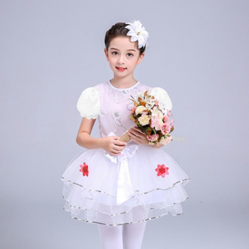 Girls princess modern dance dresses singer chorus stage performance singers dress costumes