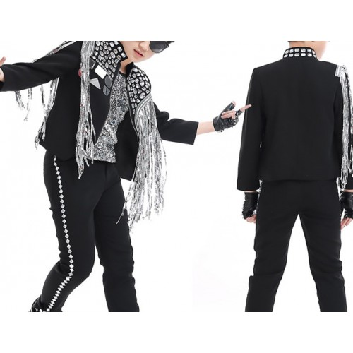 Boys street jazz modern dance jacket  children kids fringes lens rhinestones competition model show singer host dancing coats tops
