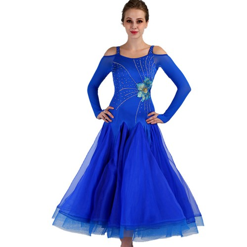 adult children girls Ballroom dancing dresses  competition professional royal blue long sleeves waltz tango dancing dresses
