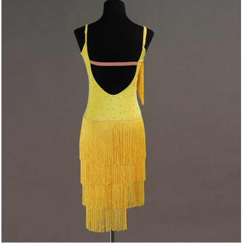 Latin dancing dresses for girls women yellow black rhinestones dance school competition rumba samba salsa chacha dancing dress skirt