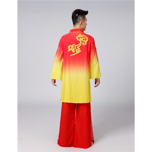 Chinese ancient traditional classical folk dance costumes for men male red with gold dragon drummer kungfu martial dancing clothes robes
