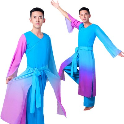 Chinese folk dance costumes for men's male ancient traditional classical fan yangko kungfu warrior modern dance clothes