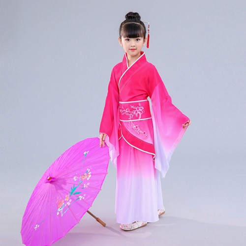 Children Chinese folk dance dresses hanfu royal blue pink ancient traditional yangko fan umbrella stage performance costumes dress