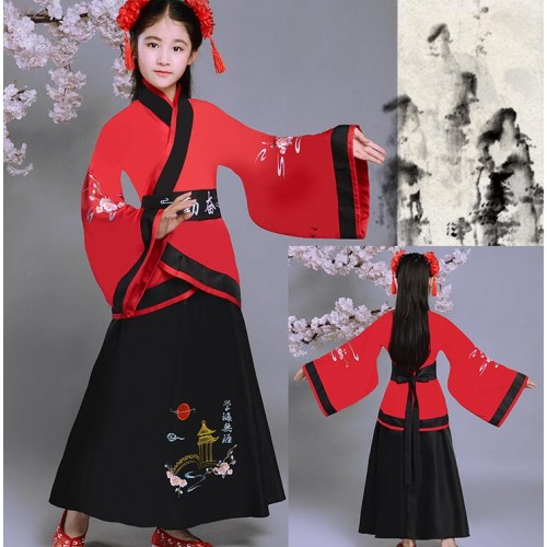 Chinese folk dance costumes for girls children hanfu red blue white boys girls ancient traditional classical fairy photos cosplay dresses