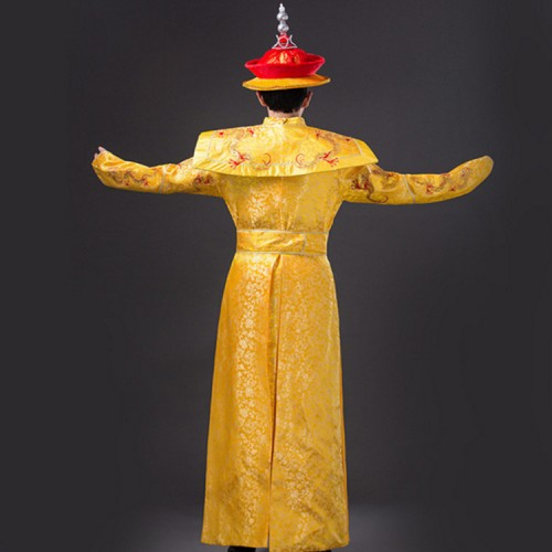 Chinese ancient traditional stage performance costumes for men's male wedding photography drama cosplay emperor gold dragon robes dresses