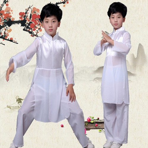 Children chinese folk dance costumes ancient traditional wushu martial kungfu stage performance practice costumes clothes