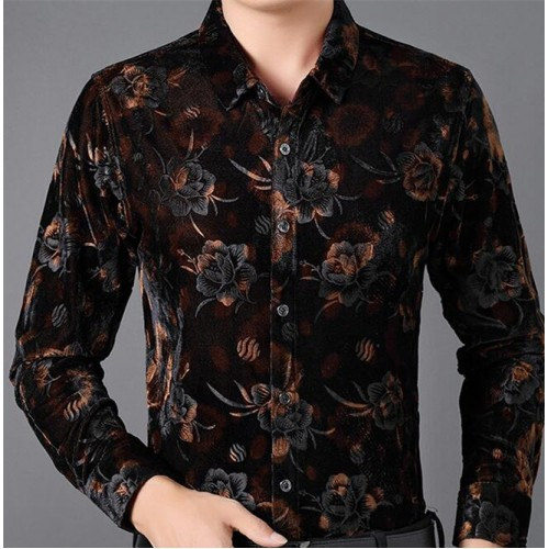 Men's ballroom latin dance shirts velvet floral stage performance competition professional waltz tango dance tops shirt