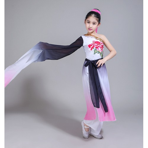 Children Chinese folk dance costumes pink girls water sleeves hanfu fairy cosplay traditional ancient classical yangko dance dresses dancewear