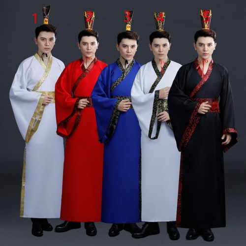 Men's Chinese folk dance costumes Hanfu  ancient  traditional dance warrior swordsmen drama cosplay robes clothes