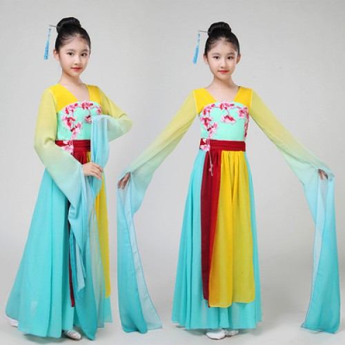 Children chinese folk dance costumes pink blue fairy cosplay water sleeves hanfu traditional classical yangko fan dance dresses clothes