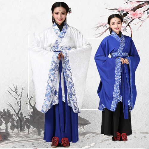 Women's Chinese folk dance costumes royal blue red white  Hanfu ancient traditional fairy cosplay princess kimono cosplay robes dresses