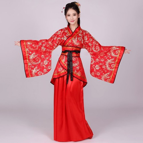 Women's Chinese folk dance costumes pink red colored  ancient traditional classical dance hanfu fairy princess drama cosplay  robes kimono dresses
