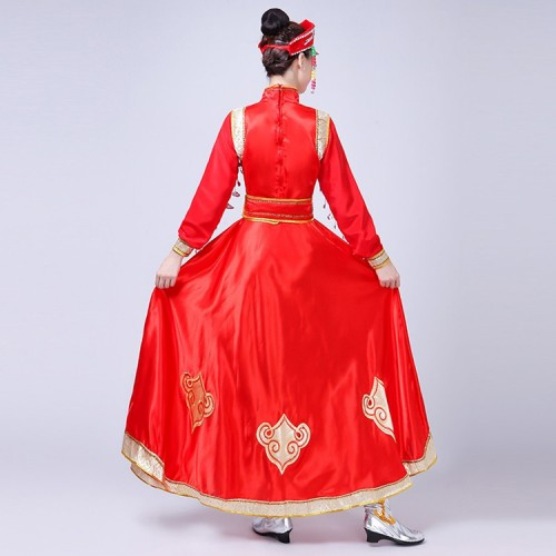 Mongolian dance dresses cheap Chinese folk dance dresses minority red Mongolia stage performance drama Asian party cosplay costumes dresses
