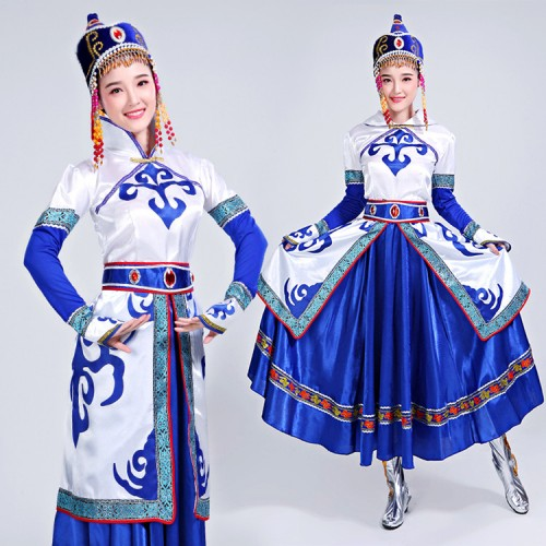 Women's cheap Chinese folk dance dresses Mongolian Dresses Mongolia Asian party cosplay costumes stage performance photos dance robes dress