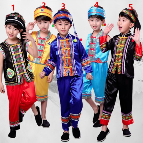 Boy's chinese folk dance costumes children minority miao hmong stage performance drama photos cosplay outfits clothes