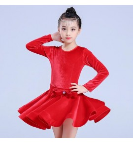 Girls velvet latin dance dresses black blue red long sleeves competition ballroom rumba samba salsa chacha dance skirts dress