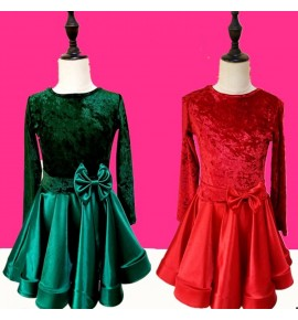 Girls latin dance dresses children dark green red velvet long sleeves competition ballroom dance dresses