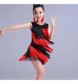 Girls latin dance dresses fringes tassels patchwork black red royal blue pink competition stage performance chcha rumba dresses