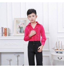 Boy fuchsia pink colored latin dance tops and pants children ballroom flamenco dancing costumes clothing
