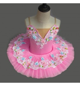 Children ballet dance dresses kids girls pink rose flowers competition professional stage performance little tutu skirt costumes clothing
