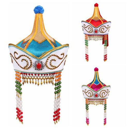 Women's Chinese folk dance hats Mongolian dance stage performance hats
