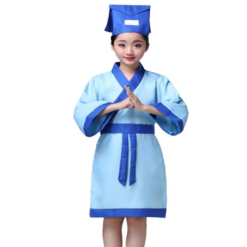 hanfu Kids chinese folk dance costumes boys girls Confucius school uniforms phtos drama cosplay robes dresses