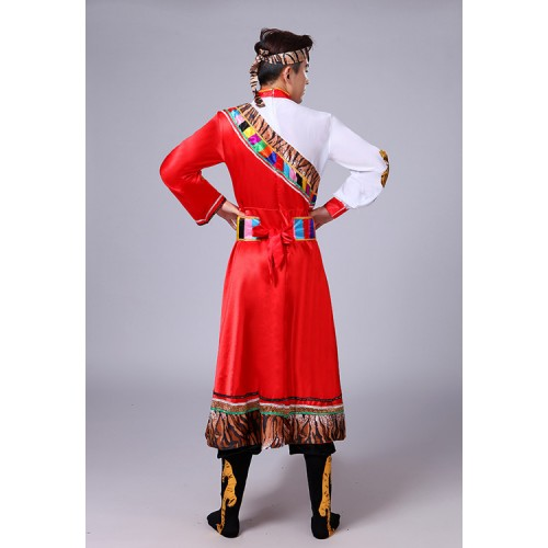 Men's Mongolian dance costumes male chines ancient traditional stage performance robes dresses