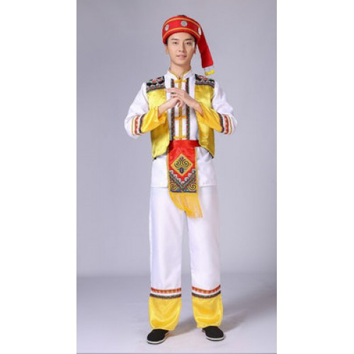 Men's chinese folk dance costumes male china Miao Hmong minority drama cosplay dresses clothes