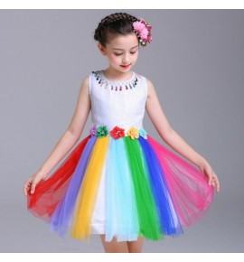 Girls princess jazz modern dance rainbow dresses kids chorus show performance dress
