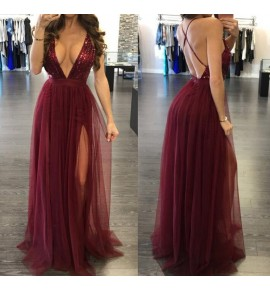 Women's singers host night club performance evening party dress abito da sera v neck fashion maxi dress