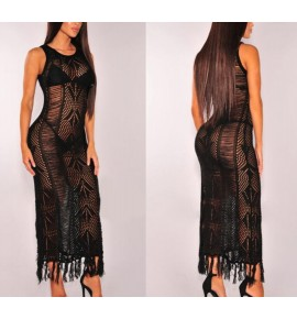 Women's bar night club see through sexy fashion dress crochet beach maxi dress