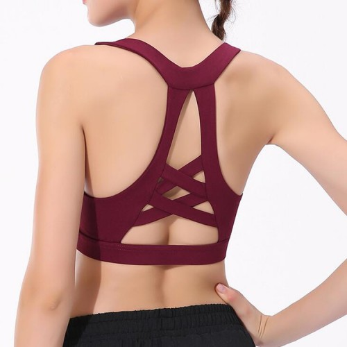 a5d128e81 Women  s yoga tops bra high impact support wire free push up tank top  running ...
