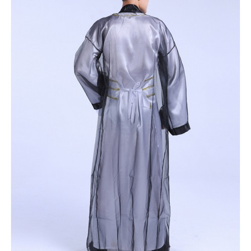 Men's chinese Hanfu traditional classical dance costumes warrior swordsmen drama cosplay robes dress costumes