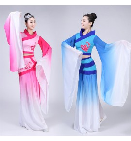 Women's chinese folk dance costumes water sleeves fairy chang e ancient classical dance dress costumes