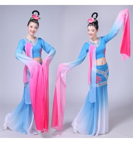 Women chinese traditional classical dance dresses costumes water sleeves stage performance fairy cosplay dress