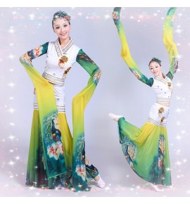 Women chinese ancient traditional classical dance costumes water sleeves chang e fairy cosplay dress costumes