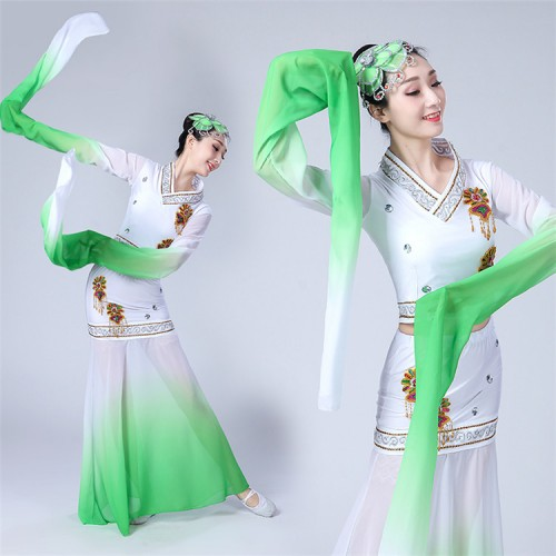 Women's chinese folk dance costumes ancient traditional classical water sleeves fairy umbrella fan dance dress costumes