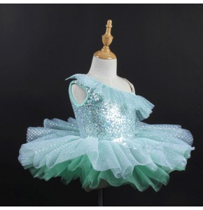 Children girls mint sequin modern dance ballet tutu skirt dress stage performance ballet costumes dress