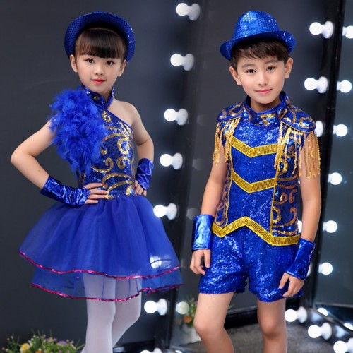 Kids modern dance jazz dance costumes boys sequin royal blue paillette princess hiphop cheerleader stage performance outfits costumes