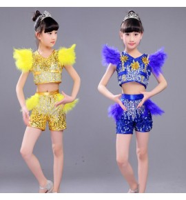 Kids children jazz street modern dance costumes boys girls yellow blue jazz hiphop chorus stage performance costumes outfits