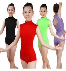Girls modern dance body tops ballet latin salsa rumba ballroom dance tops bodysuits jumpsuits