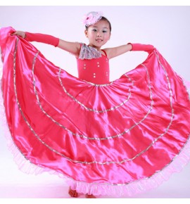 Girls flamenco dresses flowers petal pink Spanish bull opening dance dresses