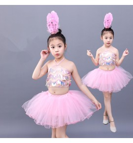 Girls modern pink jazz dance dress singer chorus stage performance princess dress show dance dress