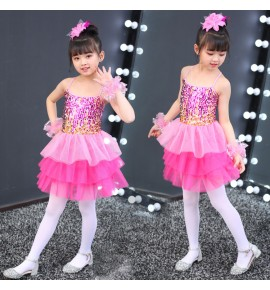 Girls modern dance jazz dance dress sequin ballet dress Costumes de danse jazz filles singers chorus stage performance costumes