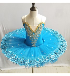 Girls modern dance swan lake ballet dresses kids children ballerina tutu skirts stage performance professional pancake dress